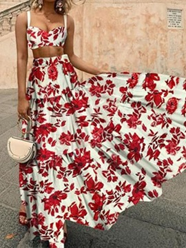 Fashion Skirt Print Pullover Expansion Women's Two Piece Sets