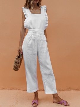 Patchwork Western Ankle Length Slim Straight Women's Jumpsuit