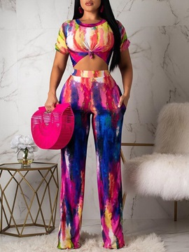 Casual Pants Gradient Wide Legs Pullover Women's Two Piece Sets