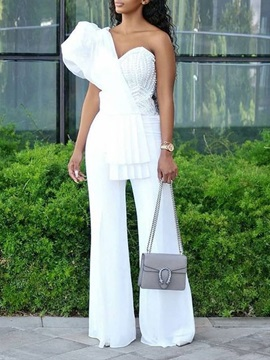 Fashion Asymmetric Plain High Waist Slim Women's Jumpsuit