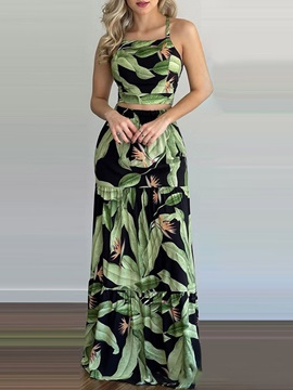 Plant Skirt Western A-Line Women's Two Piece Sets