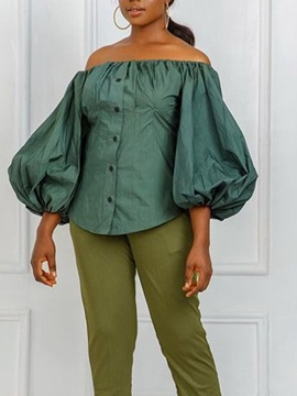 Plain Button Off Shoulder Three-Quarter Sleeve Mid-Length Women's Blouse
