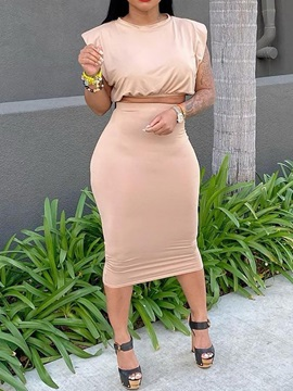 Plain T-Shirt Sexy Pullover Bodycon Women's Two Piece Sets