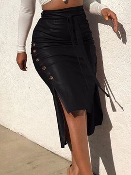 Plain Bodycon Lace-Up Office Lady Women's Skirt