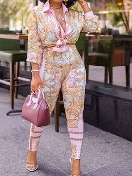Pants Floral Fashion Single-Breasted Pencil Pants Women's Two Piece Sets