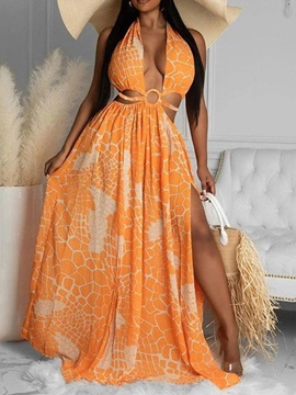 V-Neck Floor-Length Backless Sexy Expansion Women's Dress