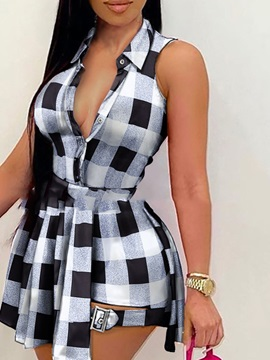 Casual Shorts Plaid Women's Two Piece Sets