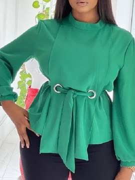 Lace-Up Stand Collar Plain Standard Long Sleeve Women's Blouse