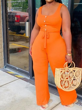 Button Full Length Office Lady Slim Straight Women's Jumpsuit