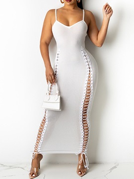 Ankle-Length Lace-Up V-Neck Fall Bodycon Women's Dress