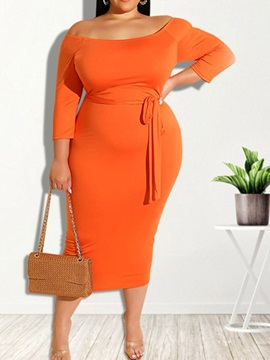 Plus Size Nine Points Sleeve Mid-Calf Lace-Up Fall Fashion Women's Dress