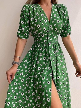 V-Neck Half Sleeve Mid-Calf A-Line Single-Breasted Women's Floral Maxi Dress