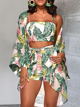 Vest Sexy Print Straight Women's Two Piece Sets