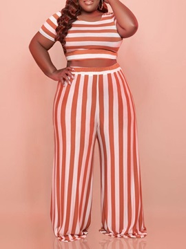 Plus Size Pants Stripe Casual Pullover Round Neck Women's Two Piece Sets