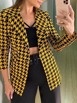 Notched Lapel Houndstooth One Button Winter Standard Women's Casual Blazer
