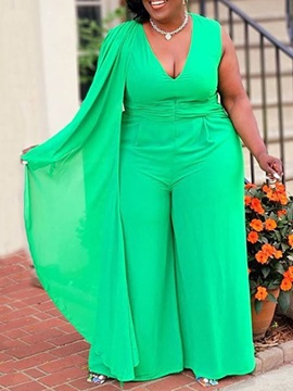 Full Length Fashion Patchwork Mid Waist Loose Women's Jumpsuit