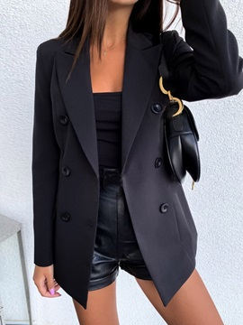 Plain Long Sleeve Double-Breasted Standard Spring Women's Casual Blazer