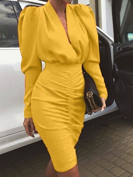 Above Knee Long Sleeve Pleated Pullover Bodycon Women's Dress