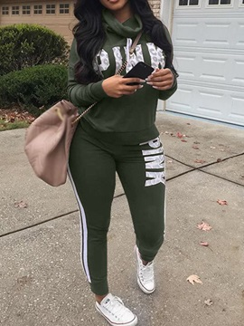 Casual Hoodie Patchwork Pencil Pants Pullover Women's Two Piece Sets