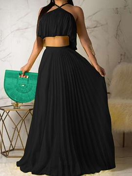 Skirt Sexy Plain Pleated Pullover Women's Two Piece Sets
