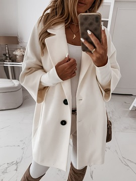 Single-Breasted Loose Button Mid-Length Fall Women's Overcoat