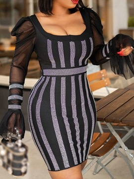 Above Knee Long Sleeve Patchwork Pullover Bodycon Women's Dress
