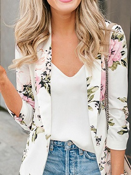 Floral Wrapped Three-Quarter Sleeve Fall Mid-Length Women's Casual Blazer