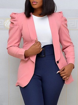 One Button Notched Lapel Long Sleeve Spring Regular Women's Casual Blazer
