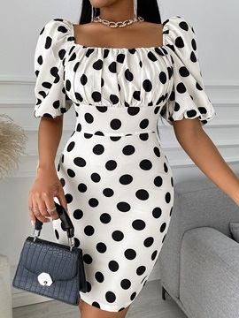 Square Neck Above Knee Short Sleeve Pullover Fashion Women's Dress