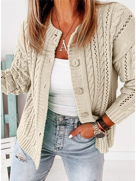 Regular Button Single-Breasted Winter Loose Women's Sweater