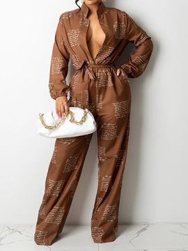 Full Length Button Sweet Straight Loose Women's Jumpsuit
