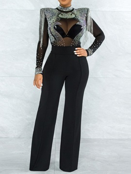 See-Through Sexy Color Block Straight Mid Waist Women's Jumpsuit