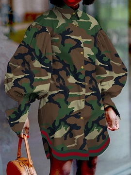 Long Sleeve Above Knee Button Single-Breasted Camouflage Women's Dress