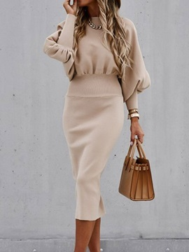 Stand Collar Mid-Calf Long Sleeve Formal Pullover Women's Dress