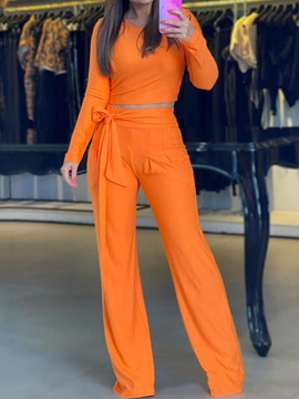 Plain Sweet Lace-Up Straight Pullover Women's Two Piece Sets