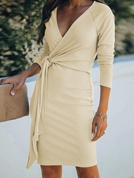 Lace-Up Above Knee V-Neck Bodycon Pullover Women's Dress