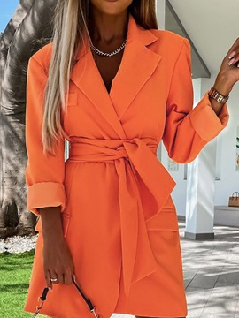 Above Knee Lace-Up Notched Lapel Fall Regular Women's Dress