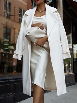 Loose Double-Breasted Button Notched Lapel Fall Women's Overcoat