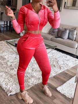 Sexy Plain Ankle Length Pants Hooded Pencil Pants Women's Two Piece Sets