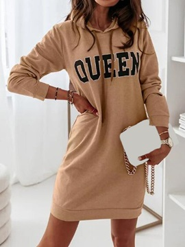 Hooded Long Sleeve Above Knee Bodycon Casual Women's Dress