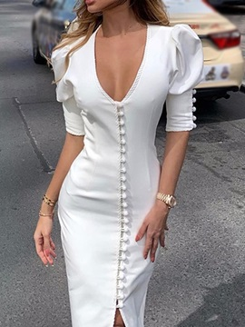 V-Neck Button Mid-Calf Single-Breasted Spring Women's Dress