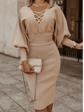 Mid-Calf Nine Points Sleeve Formal Pullover Women's Dress