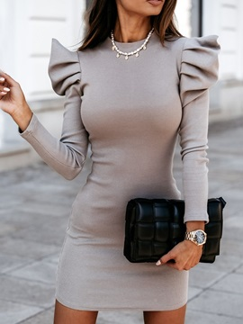 Above Knee Stand Collar Nine Points Sleeve Plain Pullover Women's Dress