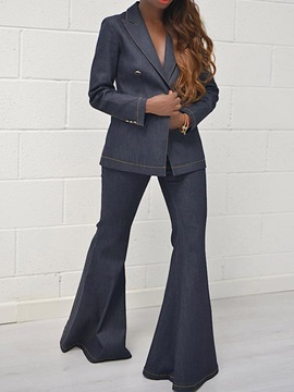 Formal Plain Button Notched Lapel Double-Breasted Women's Two Piece Sets