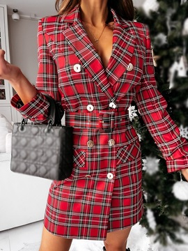 Notched Lapel Above Knee Long Sleeve Double-Breasted Plaid Women's Dress