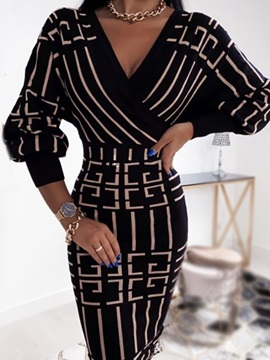 Mid-Calf Patchwork V-Neck Pullover Fashion Women's Dress