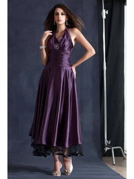 A-Line Tea-Length Halter Beading Evening Dress & Formal Dresses for sale