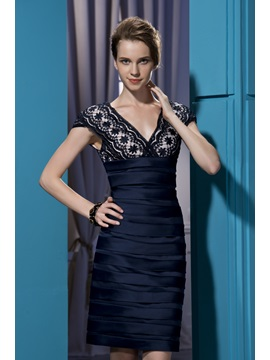 Glamorous Column Knee-Length V-Neck Embroidery Short Sleeves Office Dress & colored Formal Dresses