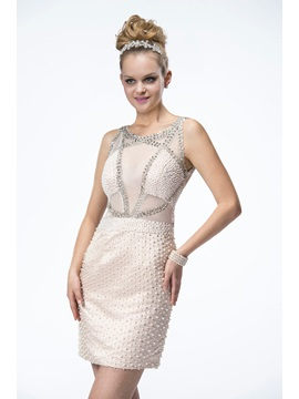 Bright Backless Column Straps Short-Length Pearls Formal/Cocktail Dress & modern Formal Dresses