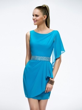 Sheath Scoop Sequins Beading Short-Length Cocktail Dress & simple Formal Dresses